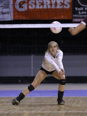 Piedra Vista's Rebekah Eaves records a dig against Gadsden on Thursday at the Santa Ana Star Center in Rio Rancho.