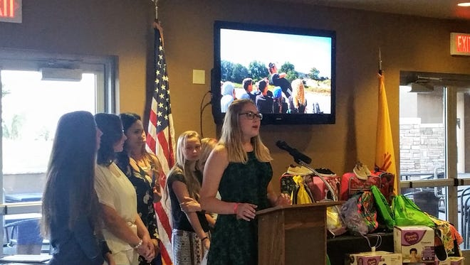 A Junior Leadership Otero student gives a commencement speech at the 19th Hole at Desert Lakes Golf Course. The Alamogordo Chamber of Commerce and Leadership Otero Class of 2013 celebrated the Junior Leadership Otero Class of 2017 graduation Monday, May 8.