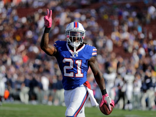 Buffalo Bills defensive back Nickell Robey (21) reacts after grabbing an interception during the second half of an NFL football game against the Los Angeles Rams, Sunday, Oct. 9, 2016, in Los Angeles. (AP Photo/Jae C. Hong)