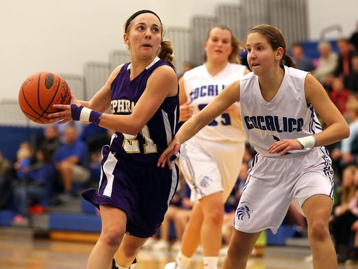 Ephrata's Kay Liebl (21) drives to the hoop as Cocalico's