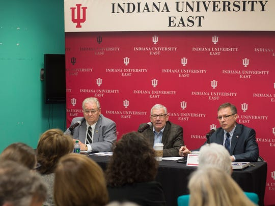 Local lawmakers (from left), Reps. Dick Hamm and Tom Saunders and Sen. Jeff Raatz, participate in a legislative forum at Indiana University East's Springwood Hall on Friday, Feb. 24, 2017.