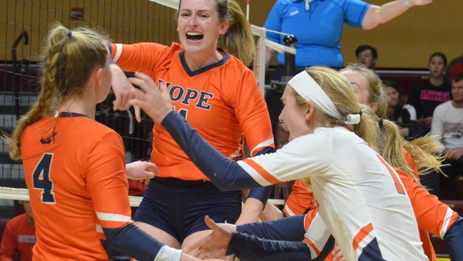 The Hope College volleyball team will start its schedule in March.