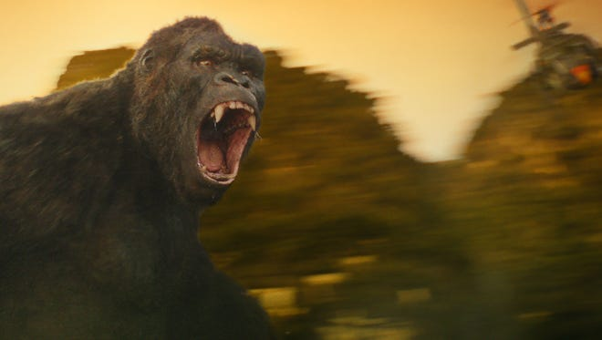 """Kong doesn't take kindly to visitors in """"Kong: Skull Island."""""""