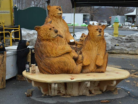 Bears are a popular subject for chainsaw artist Dennis Beach.