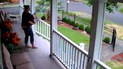 Video footage catches a woman stealing packages moments after they were delivered to a Salem home on Thursday
