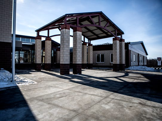 The entrance to the new Johnstown High School.