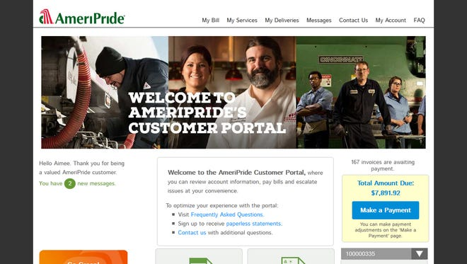 This is a screen shot of AmeriPride's new customer portal.