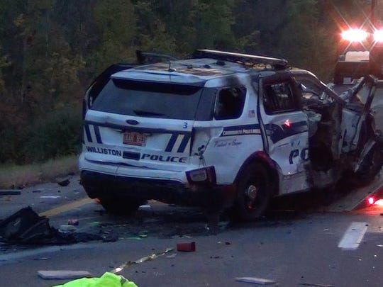 A Williston police cruiser, pictured here, was stolen when the officer responded to a fiery crash that killed five people on Interstate 89 Saturday night. The man who stole the cruiser crashed with at least seven other cars, injuring five more people, Vermont State Police said.