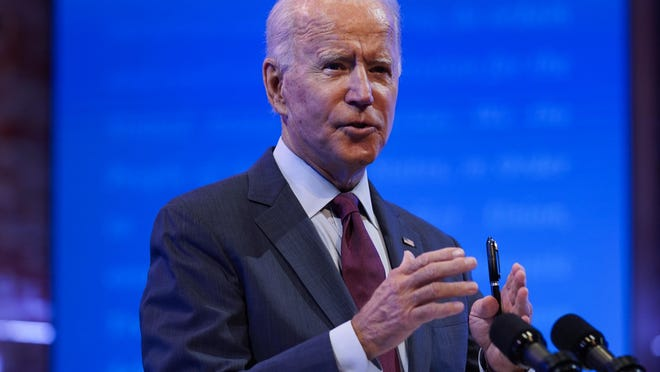 Democratic presidential candidate former Vice President Joe Biden gives a speech on the Supreme Court at The Queen Theater, Sunday, Sept. 27, 2020, in Wilmington, Del.