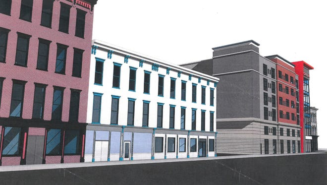 Rendering of Cambria Hotel.