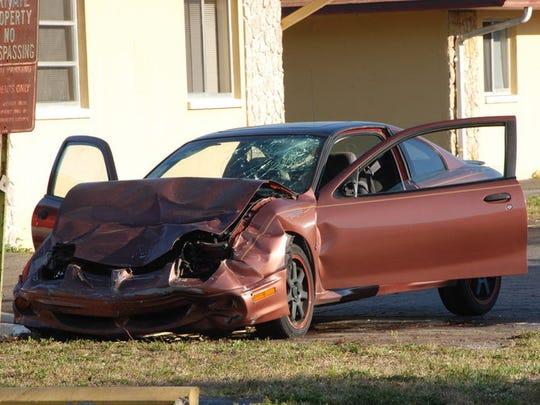Cape Coral Police Department officers say   Donny Crecelius, a homeless man, intentionally crashed his truck into this car, seriously injuring the vicitm.