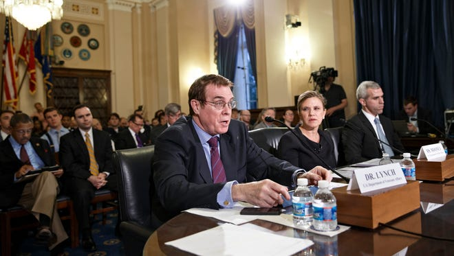 From left, Thomas Lynch, an assistant deputy undersecretary at the VA, testifies before the U.S. House Committee on Veterans' Affairs on Wednesday about hospital wait times. <137>Joan Mooney, the assistant secretary for congressional and legislative affairs at the Department of Veterans Affairs, and Michael Huff, a congressional relations officer with the Department of Veterans Affairs, testify as the House Committee on Veterans' Affairs hears from the three witnesses about allegations of gross mismanagement and misconduct at VA hospitals possibly leading to patient deaths, on Capitol Hill in Washington, Wednesday, May 28, 2014.
