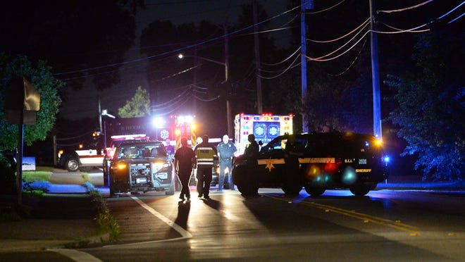 Police blocked off Bedford and Forest streets in Whitman on Wednesday, July 15, 2020. Police also had to shut down part of Route 18 in Whitman. A man was arrested for assaulting a woman with a children's bicycle.