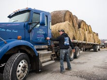 Dozens of semi-trucks roll out to help wildfire victims