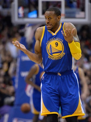 Warriors forward Andre Iguodala shrugs during a Game 5 loss Tuesday to the Clippers.