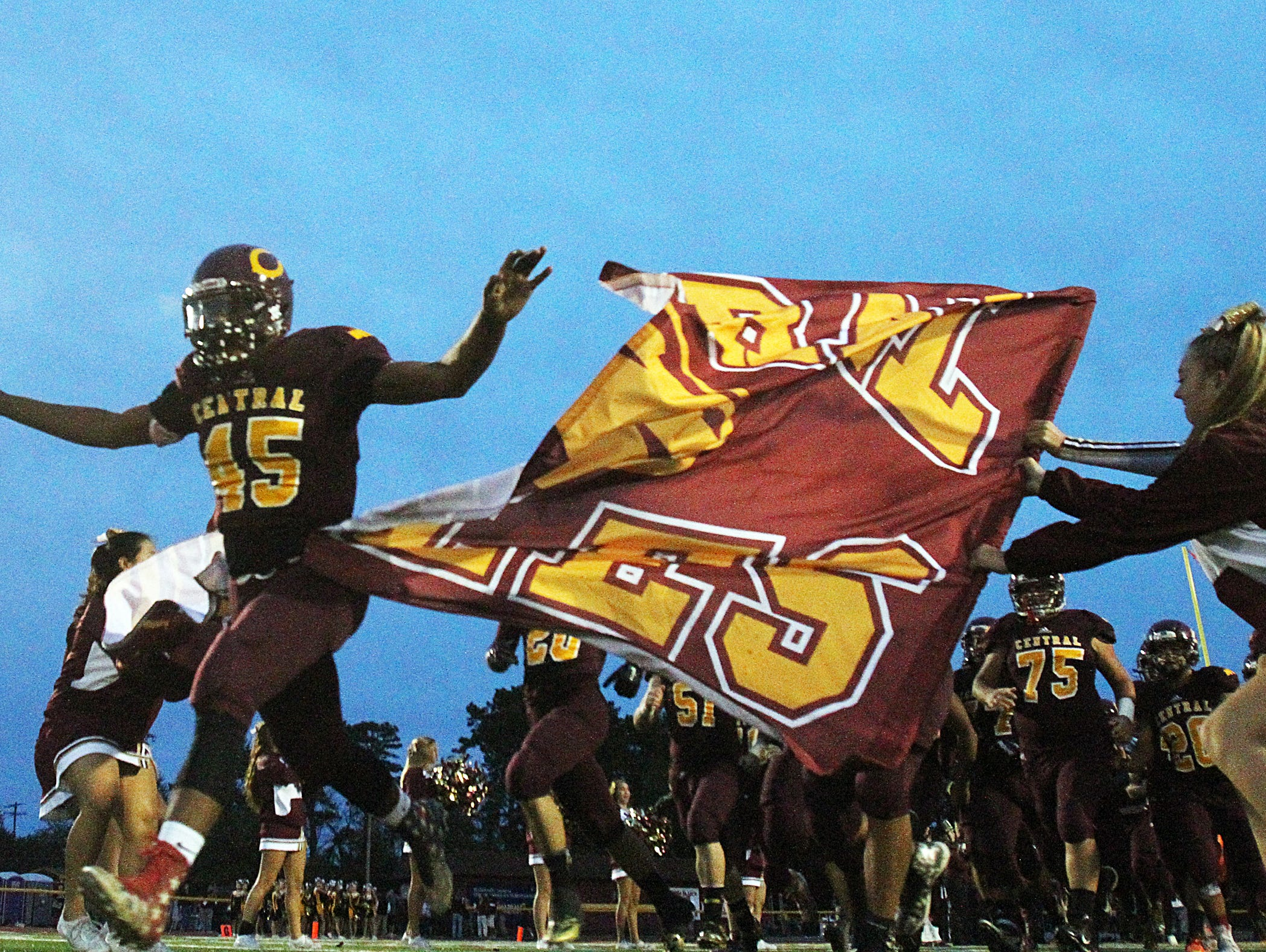 St. John Vianney at Central Regional High School football game held in Berkeley Twp. on Friday September 25 , 2015. Here the Central Regional Golden Eagles take to the field.
