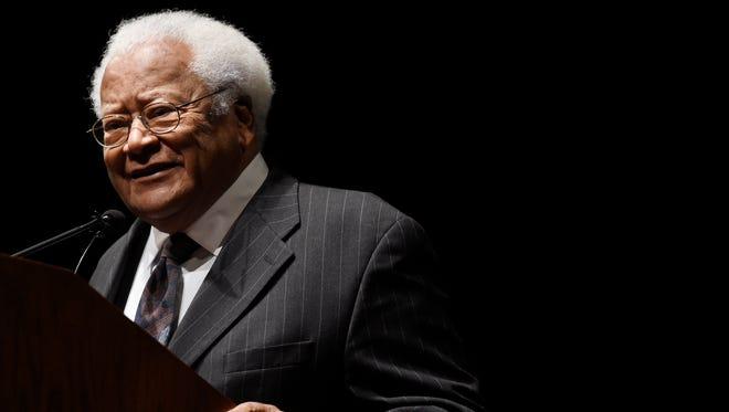 The Rev. James Lawson, a civil rights legend, speaks at Langford Auditorium on the Vanderbilt University campus Jan. 18, 2016.