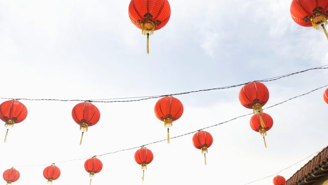 Chinese lanterns sent off in California.
