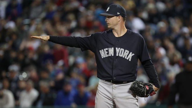 New York Yankees starting pitcher Sonny Gray (55) looks back during the fourth inning against the Atlanta Braves at Champion Stadium.