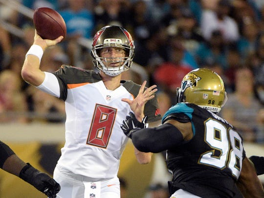 Mike Glennon throws a pass in an exhibition game in 2016.