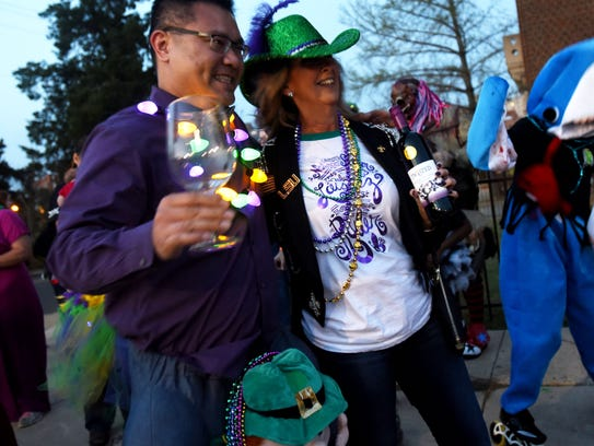 The first Fat Tuesday Shreve Town Walking Parade Tuesday