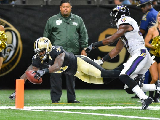 Jordan Williams-Lambert, seen here diving for the end zone against the Baltimore Ravens, will play for the New Orleans Saints practice squad.