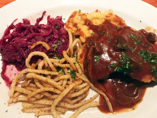 One of Patria's signature dishes, Jaeger Schnitzel with red cabbage and spaetzle.