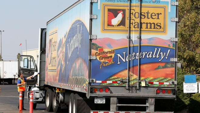A truck enters the Foster Farms processing plant on Oct. 10, 2013, in Livingston, Calif. The plant is one of three California poultry processing plants linked to a salmonella outbreak.