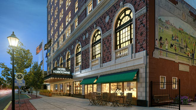 An artist's rendering depicts the Yorktowne Hotel after it undergoes a $20 million renovation.