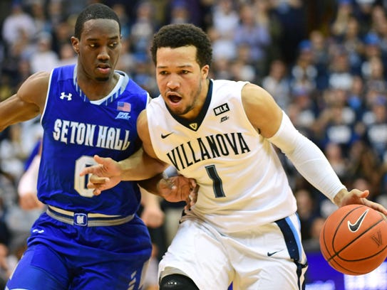 Seton Hall's Khadeen Carrington (0) and Villanova's