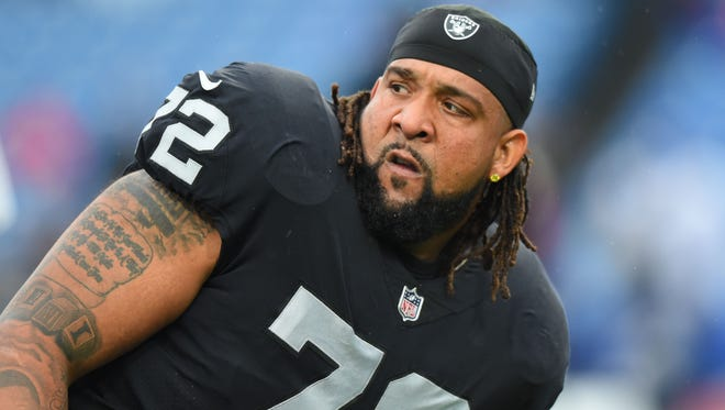 Raiders offensive tackle Donald Penn warms up prior to a game against the Bills at New Era Field in Orchard Park, N.Y. during the 2017 season.
