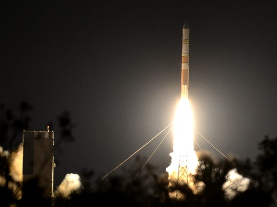 A United Launch Alliance Delta IV rocket lifts off