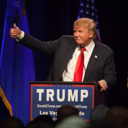 GOP Presidential candidate Donald Trump addresses his