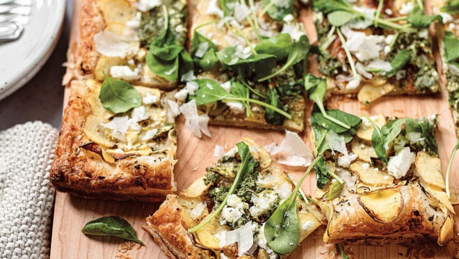 """This potato and goat cheese tart is from """"Family Style: Shared Plates for Casual Feasts"""" by Karen Tedesco."""