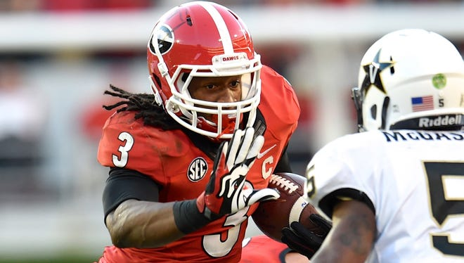 Georgia running back Todd Gurley (3) moved into the top spot in the weekly USA TODAY Sports survey of Heisman voters.