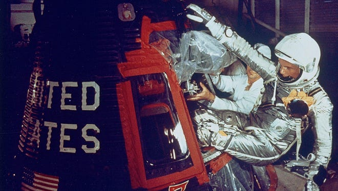 With the help of technicians, Astronaut John Glenn enters the Friendship 7 capsule for his historic flight on Feb. 20, 1962. Learn more about the flight and the man during the free Launch Pad Lecture at 9 a.m. on Feb. 3 at the New Mexico Museum of Space History.