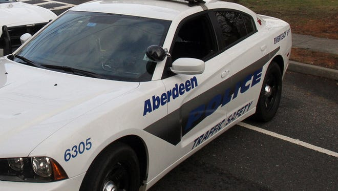 An Aberdeen police cruiser was struck while stopped at a traffic light Tuesday afternoon, according to police.