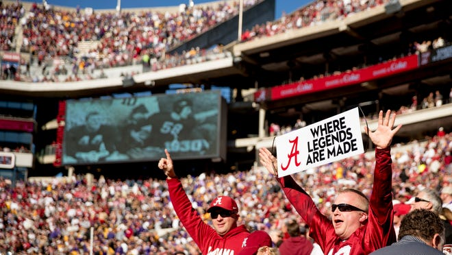 Alabama fans cheer before an NCAA college football game against LSU at Bryant-Denny Stadium, in Tuscaloosa, Ala., Saturday, Nov. 9, 2019. (AP Photo/Andrew Harnik)