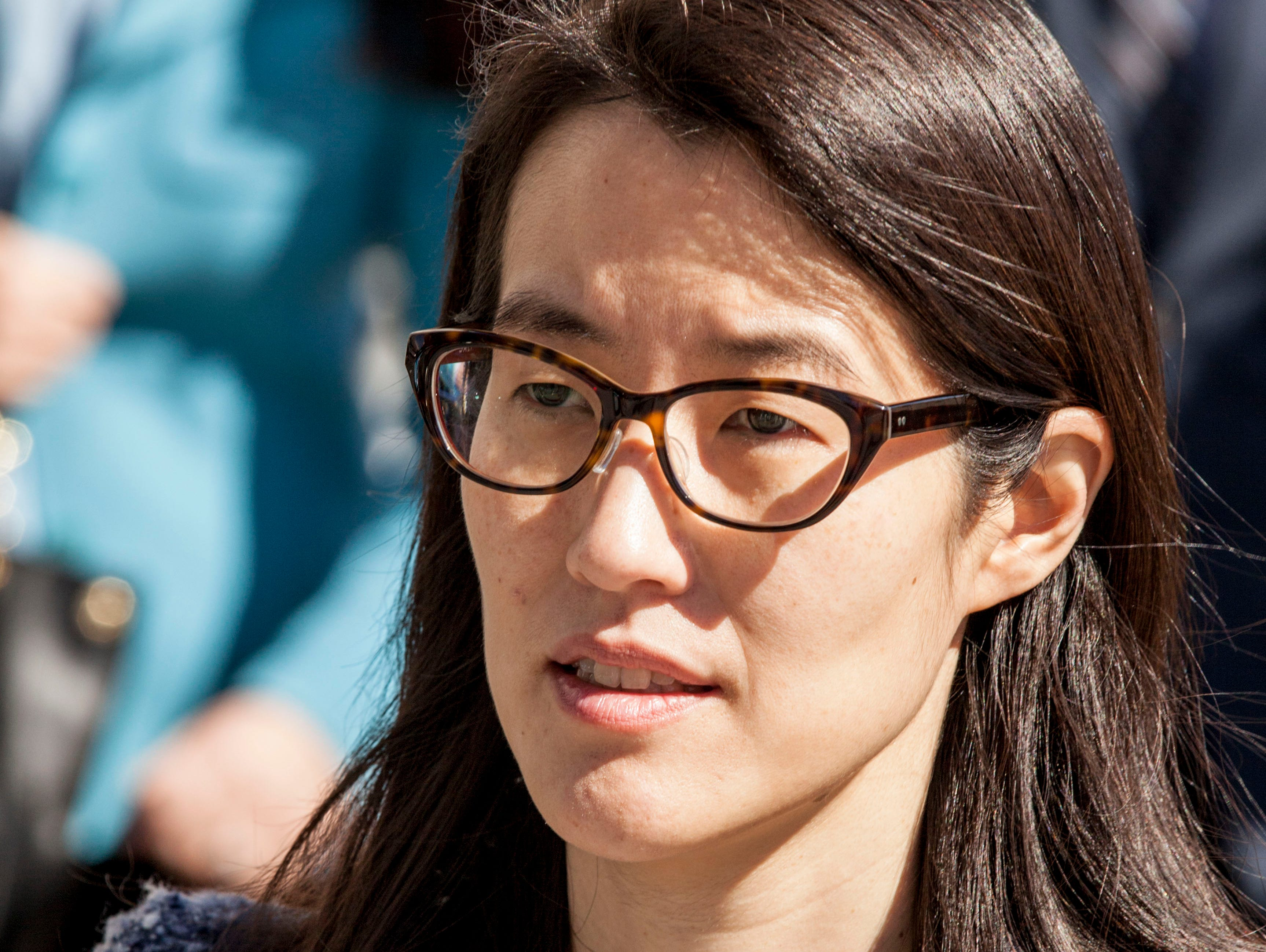 Ellen Pao, a former venture capitalist at Kleiner Perkins Caufield & Byers, arrives at the San Francisco Civic Center Courthouse  on March 3, 2015.