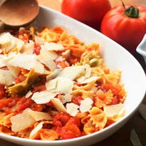 Fresh tomato sauce with pasta. You can cook the tomatoes for as little or as long as you want, and you'll still have a delicious sauce.