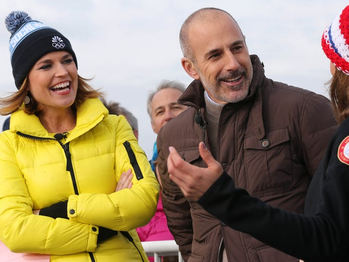 'Today' show co-anchors Savannah Guthrie (left) and Matt Lauer (middle) talk with alpine skiier Julia Mancuso on the set in Sochi.