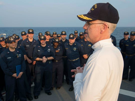 Rear Adm. Kevin M. Sweeney, commander of Carrier Strike Group 10 and Task Force 50, speaks with sailors during a visit aboard the guided-missile destroyer USS Mason (DDG 87). Mason is deployed as part of the Harry S. Truman Carrier Strike Group supporting maritime security operations and theater security cooperation efforts in the U.S. 5th Fleet area of responsibility.