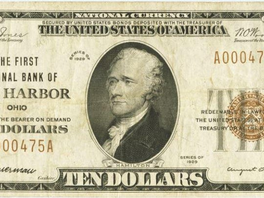 One of the national bank notes in Fred Schwan's collection. This one was printed for the First National Bank of Oak Harbor.