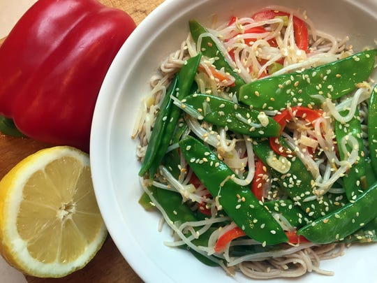 Lemon and bell pepper had exact flavor to the sesame oil and soba noodles