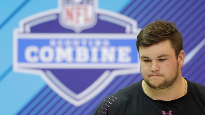 Notre Dame offensive lineman Quenton Nelson speaks during a news conference at the NFL scouting combine, Thursday, March 1, 2018, in Indianapolis.