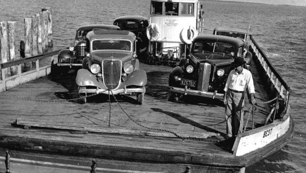 in June of 1928, the first small Kinzie ferry, Best, began to carry automobiles from Punta Rassa to Sanibel.
