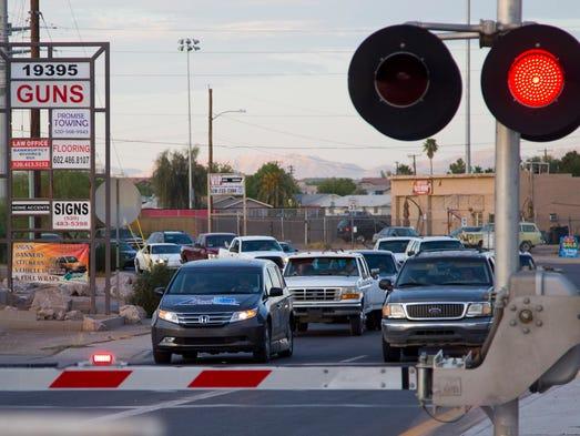Maricopa overpass cars waiting