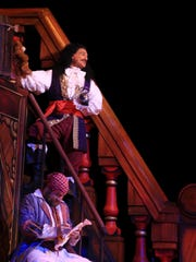 """Captain Hook's pirate ship set takes up much of the the large Tuacahn stage for the amphitheater's 2016 production of """"Peter Pan."""""""