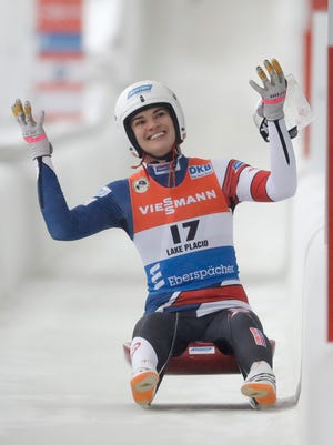 Summer Britcher, of Glen Rock, reacts after she finished in fourth place in the women's luge World Cup race on Saturday. It was her best finish of the season, but she placed third at the same event last season.