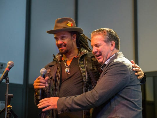 Asbury Park Press President Tom Donovan introduces Michael Franti to the audience as he talks about the movie he is premiering at the Festival. VIP Party at the Asbury Hotel on the second night of the Asbury Park Music in Film Festival on April 27, 2018.